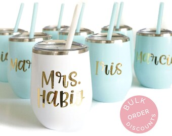 Bachelorette Tumblers, Bachelorette Party Favors, Bride and Bridesmaid Cups, Stemless Wine Tumblers, Gifts for Bridal Party, Drinkware