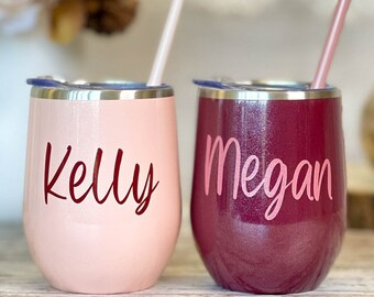 Gifts for Her Under 20, Personalized Tumbler with Straw, Custom Wine Glass, Secret Sister Personalised Gift, Burgundy Wine Tumblers (WT1)
