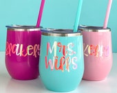 Personalized Bridesmaid Cups, Bachelorette Party Favors, Summer Wine Glass, Wedding Party, Stainless Steel Tumblers, Maid of Honor Gift(WT1)