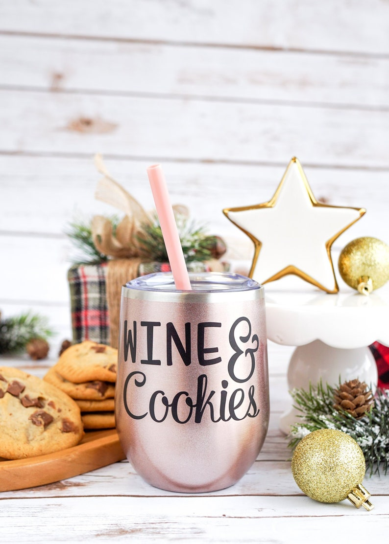Christmas Wine Glasses Cookie Baking Christmas Cookie Exchange Party Wine Cookies Customizable Christmas Drink Tumbler Gift For Mom