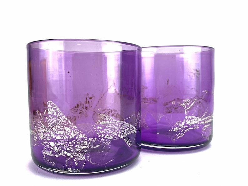 Handblown Purple Jewel Silver Metallic Pint Glass four