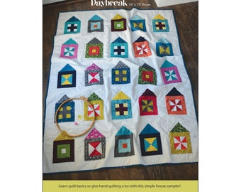 """Pattern """"Daybreak Quilt"""" by Cabbage Rose (CAR196-DAY) Paper Pattern Pieced Quilt Houses"""