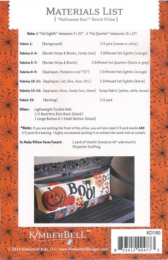 Kimberbell Halloween Boo Motif coussin de banc.