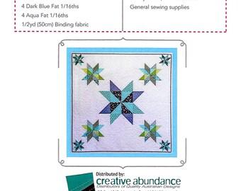"Pattern ""Ocean Stars"" Quilt Pattern by Jemima Flendt (TR021) Paper Pattern Pieced Quilt"