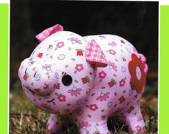 """Pattern """"Oink Oink"""" Pig Soft Sculpture, Stuffed Toy, Softie, Cloth Toy Sewing Pattern by Melly & Me (MM149)"""