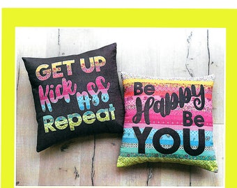 """Pattern """"Be Fearless/ Be Happy"""" by Melly & Me (MM162) Applique Text Pillow Pattern"""