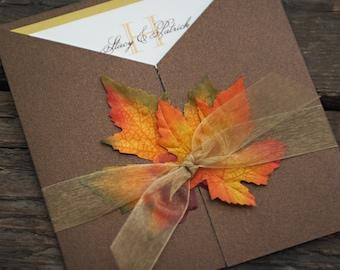 Fall Wedding Invitation - Autumn Glory Fall Leaves