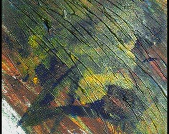 Original Painting - Abstract Painting with Green, Brown & Yellow by David Lawter