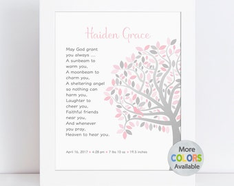 Unique Baptism Gift Girl, Personalized Dedication Gift, Christening Gift, Tree PRINT, Irish Blessing May God grant you always, a sunbeam