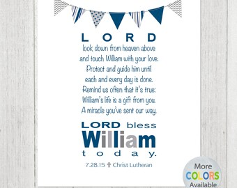 Personalized Boys Prayer with Bunting - PRINTABLE DIGITAL FILE - Baptism Gift - Christening Gift - Baby Gift - Wall Art