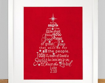 christmas tree with luke 210 11 bible verse subway art print christmas gift wall art decoration