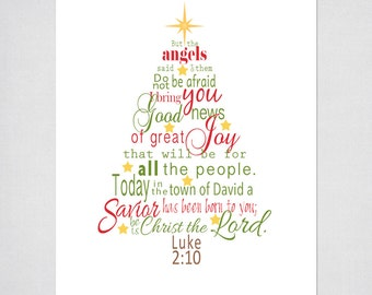 luke 2 bible verse christmas tree subway art instant etsy