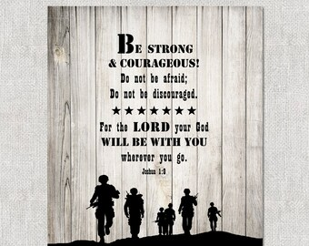 INSTANT DOWNLOAD - Soldier Scripture Art.  Inspirational Bible verse Joshua 1:9.  Military Sign.  Great gift for a soldier.