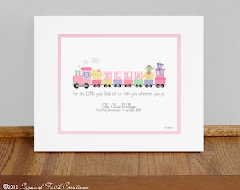 Pink & Purple Train Personalized PRINT with Girls Name and Bible verse.  Baptism, Christening, First Communion, Baby, or Adoption Gift.