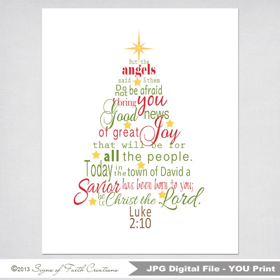 Christmas Tree Printable Scripture Art with Luke 2 Bible verse | Etsy