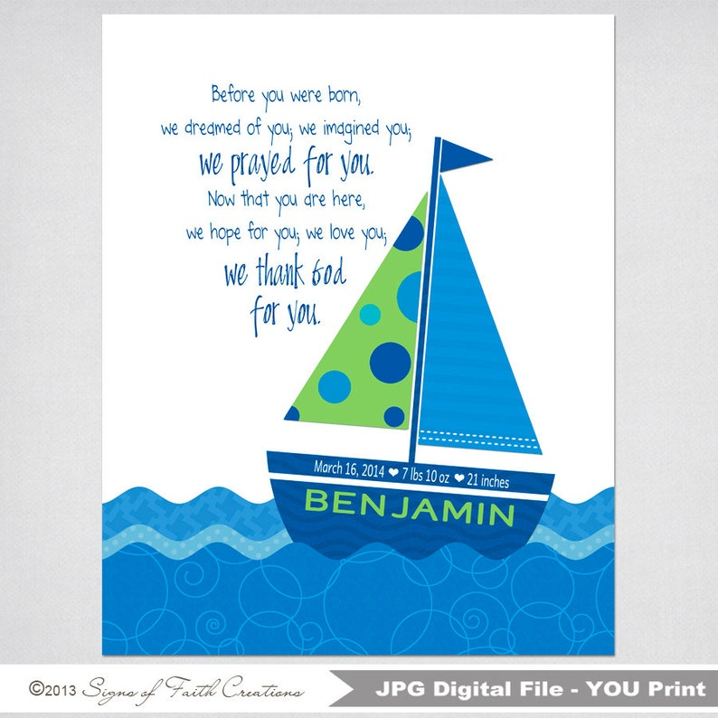photograph regarding Sailboat Printable identified as Tailored Sailboat PRINTABLE with Bible Verse or Prior to yourself have been born estimate Baptism, Christening, Little one, Shower Reward. Nautical Concept.
