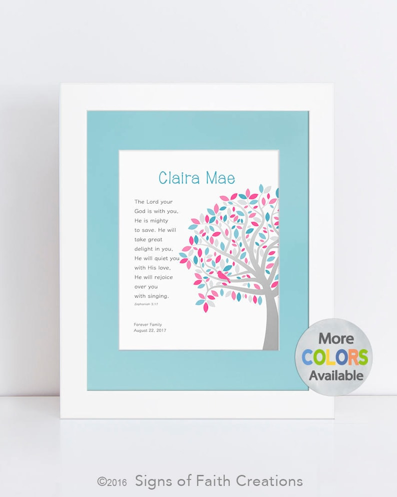 Girl Baptism Gift w Bible Verse, Personalized Christening Gift, Religious  Gift, Tree PRINT, Zephaniah 3:17 Lord is with you, Unique Gift