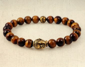 AA grade tigereye wrist mala style bracelet - gold plated buddha head