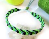Green Fluo Blue Sky Black Friendship Bracelet/Bohemian/Surf/Unisex Flat Cord Wristband Handmade/Braided With Waxed Cords & Macrame Knots