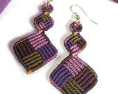 Purple Lavender Macrame Pending Earrings Handmade Creation
