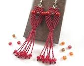 Long pending macrame owl earrings Dark Red Color