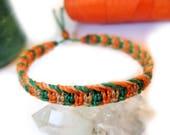 Orange Green & Beige/Straw Friendship Bracelet/Bohemian/Surf/Unisex Flat Cord Wristband Handmade/Braided With Waxed Cords and Macrame Knots