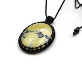 Serpentine Macrame Black Threads Pendant handmade with natural/genuine 45mmX32mm Green/Yellow Serpentine Stone