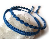 X2 Royal Blue Friendship Bracelets/Bohemian/Surf/Unisex Flat & Spiral Cord Wristband Handmade/Braided With Waxed Cord and Knots Réf.PP+PS692