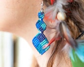 Macrame Three Squares Earrings Blue Shade Color Handmade