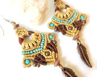 Beige Brown and Blue Turquoise Macrame Earrings with copper, howlite turquoise and wood beads / Handmade Creation