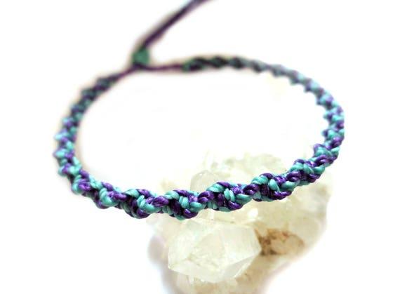 Blue Sky Turquoise Purple Bracelet Handmade Friendship Surf Etsy