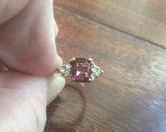 Amethyst & Diamond Ring Faux