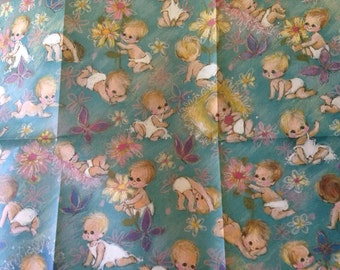 Vintage 60s Wrapping Paper Baby