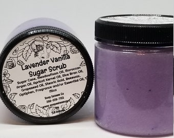 SOLD OUT, Natural Sugar Scrub, Organic Lavender and Vanilla Skin Polish, Unique Loving gift for Best Friend, Bridesmaid present in gift pak