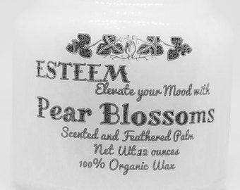 Elegant Pear Blossom Crystal Palm Candle,