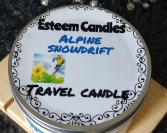 Natural Alpine Snowdrift Hand poured Candle, Feathered wax, 8 ounce travel candle, Organic Palm Candle with Hemp Wick