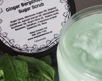 Organic Ginger, Bergamot and Mint  Sugar Scrub, Organic Body Polish, Unique Birthday presents, Great Bridesmaid Gifts