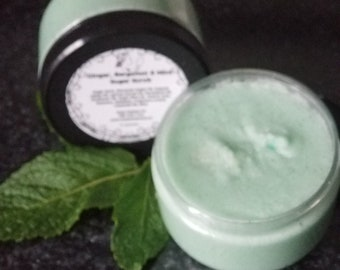 Pure and Natural Ginger, Bergamot and Mint Sugar Scrub, All natural Body Polish, Unique Birthday gift, Great Bridesmaid gifts