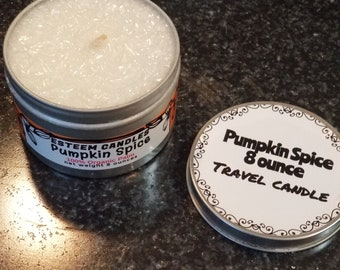 Natural Pumpkin Spice Travel Candle, 8 ounce feathered candle,