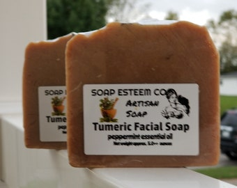 Tumeric Facial Bar Soap, Organic Soap with Peppermint Essential Oil