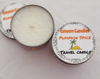 Organic Travel Candle, Pumpkin Spice Natural Candle, Crystal and Feathered Palm Wax, Unique gift for men and women