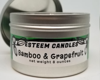 Organic Travel Candles, Bamboo and Grapefuit Natural Candle, Crystal Palm Wax,  Unique gift item for women and men