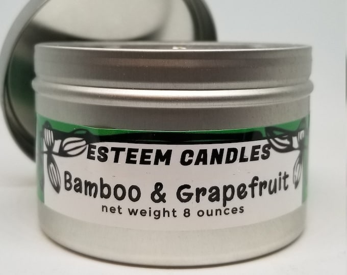 Featured listing image: Organic Travel Candles, Bamboo and Grapefuit Natural Candle, Crystal Palm Wax,  Unique gift item for women and men