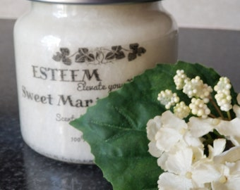 Elegant Sweet Marjoram and Basil, Feathered Palm Candle, Crystal Candle, Unique gift for Gardener