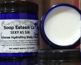 Skin Firming Hydration Body Creme, Sexy as Sin Body Creme, Welcome home gift, Unique Birthday present for the women or man in your life