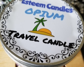 Natural Opium Fragranced Palm Candle, 8 ounce Travel Candle, Feathered Candle, Crystal Candle