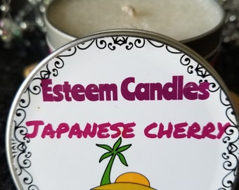 Natural Japanese Cherry Palm Candle, 8 ounce Travel Candle, Feathered Candle, Crystal Candle