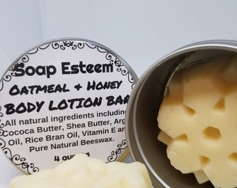 Body Butter Lotion Bar, Oatmeal Almond and Honey Lotion Bar, 4 ounce, Great Gift Idea for the student returning to their dorm, Spa Gift