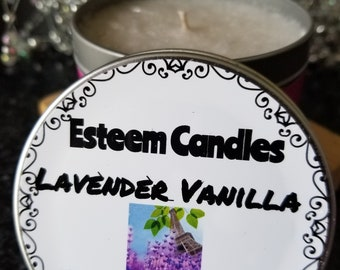 Organic Lavender Travel Candle, 8 ounce take with you candle, Unique gift for him or her, Calming Spa candle