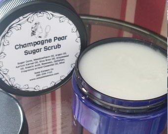 Natural Champagne Pear Sugar Scrub, Handcrafted fruity Sugar Polish, Unique Loving gift for Best Friend, Bridesmaid present in gift pak